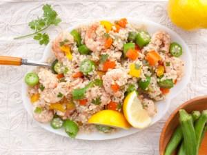 Cajun Okra and Rice Salad with Shrimp