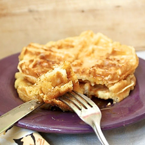 Make a batch of these Potato Cheddar Waffles and freeze. On busy mornings, toast, spread with nut butter, cut in half and make a on-the-go sandwich.