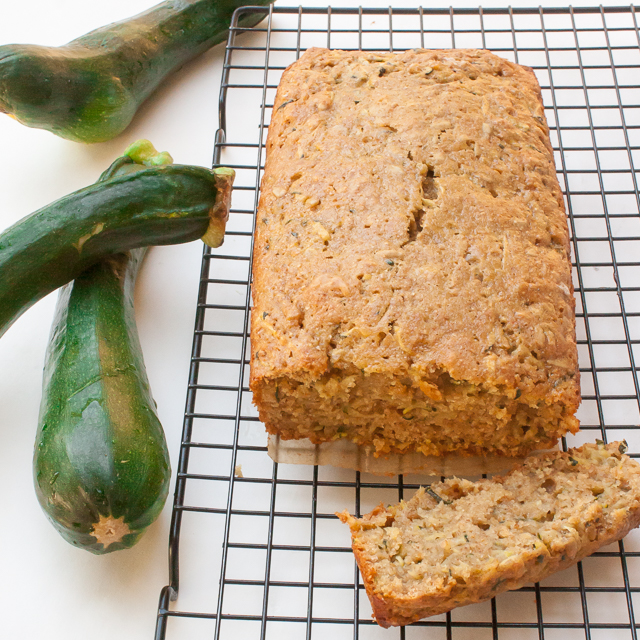 Sweet and healthy back to school breakfast >> Zucchini Bread with Sunflower Butter Glaze | @TspCurry