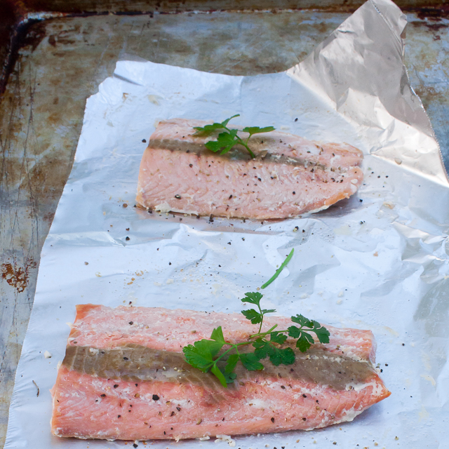 Healthy Kitchen Hacks: Cook Fish from Frozen - Roasted Salmon | @TspCurry