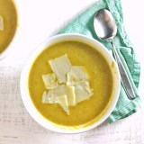 No waste here: use the entire asparagus spear and leek in this Whole Asparagus Leek Soup. Recipe at Teaspoonofspice.com