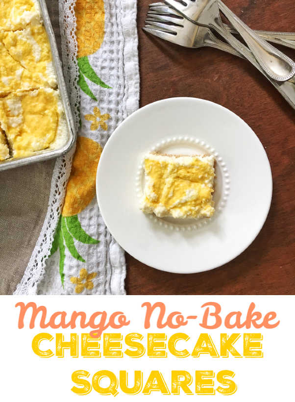 Leave the oven off this summer and whip up this no-bake cheesecake treat instead. Recipe at Teaspoonofspice.com #nobake #desserts #mango #summerdesserts #icebox