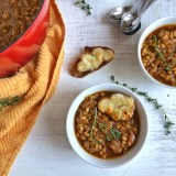 A yummy vegetarian soup recipe mash-up combining the flavors of French Onion and Vegetable Barley. Recipe at Teaspoonofspice.com
