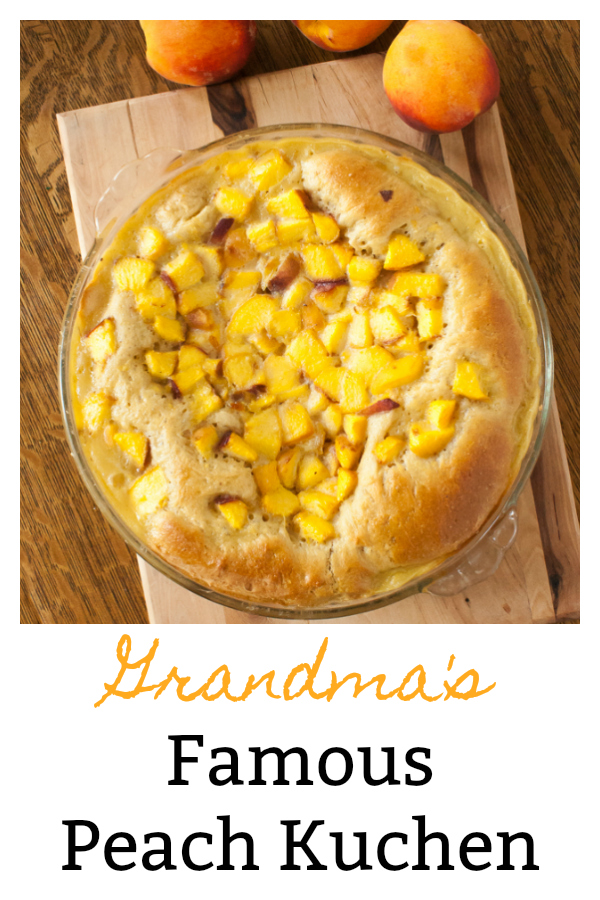 Packed with fresh peaches and a creamy vanilla custard. Serve this homey treat for breakfast, snack time, or dessert. Grandma's Famous Peach Kuchen: made famous by my Grandma - and a small bakery in North Dakota! via @https://www.pinterest.com/tspcurry/