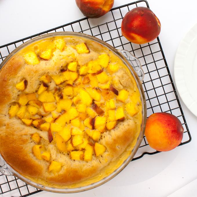 Grandma's Famous Peach Kuchen | @TspCurry