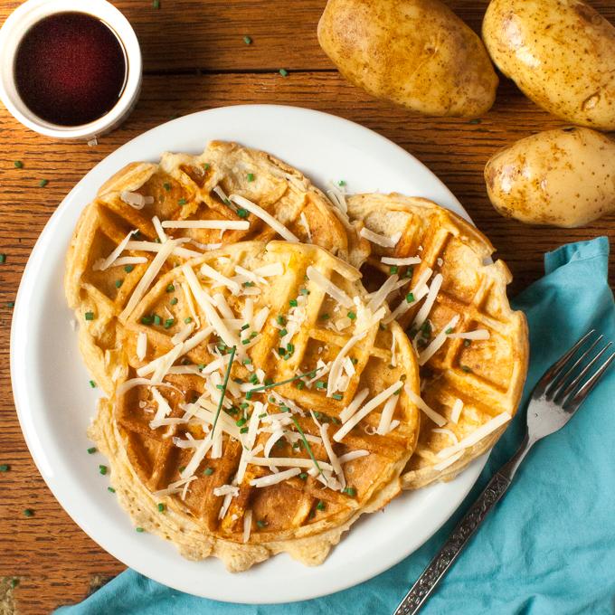 Maple Cheddar Potato Waffles | @TspCurry