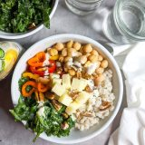 Barley Grain Bowls with Caesar Kale Chickpeas | @TspCurry - TeaspoonOfSpice.com