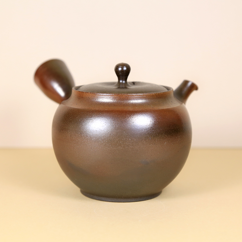 Japanese Tokoname Polished Honey-Brown Teapot back