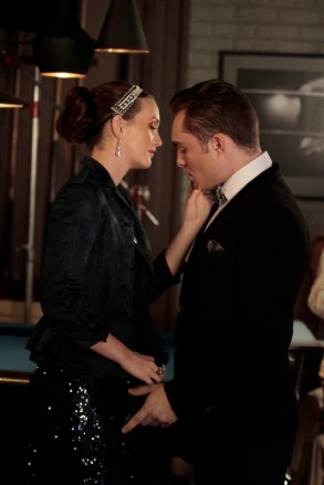 "GOSSIP GIRl-- ""Monstrous Ball"" -- image GO605B_0349 Pictured (L-R): Leighton Meester as Blair Waldorf and Ed Westwick as Chuck Bass -- Photo: Giovanni Rufino/The CW -- © 2012 The CW Network. All Rights Reserved."