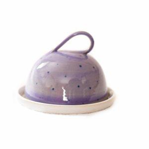 Purple Polka Dot Butter Dish