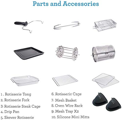 Yedi - Freidora de aire XL, horno, paquete total, 12 Litros, kit de accesorios de lujo, recetas, sin BPA, apagado automático, negro 6