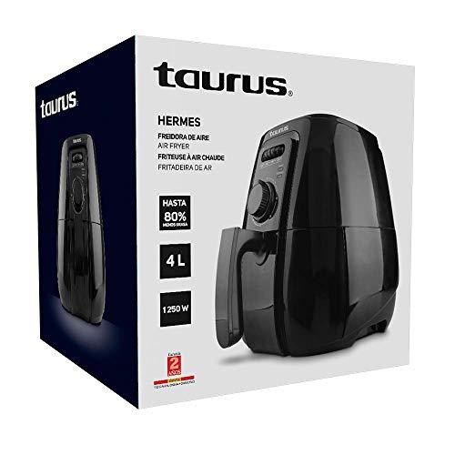 TAURUS HERMES Freidora de Aire, 4 L (4.2 Qt), Temporizador, Multifunción + Recetario Incluido, Negro, Grande 5