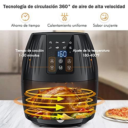 Freidora de aire, 5.8 cuartos de galón con receta, 5.5L Horno de aire caliente eléctrico y olla sin aceite para asar, visualización táctil digital LED Cesta Antiadherente 3