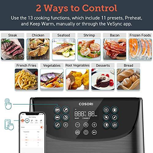 COSORI Smart WiFi 5.8QT Air Fryer (100 recetas), base programable de 1700 vatios para freír al aire, asar y mantener caliente 11 ajustes preestablecidos de cocción, recordatorio de precalentamiento y batido, pantalla táctil digital, funciona con Alexa, negro 3
