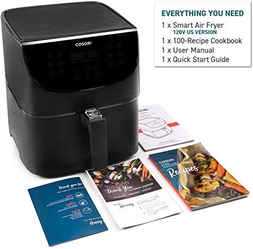 COSORI Smart WiFi 5.8QT Air Fryer (100 recetas), base programable de 1700 vatios para freír al aire, asar y mantener caliente 11 ajustes preestablecidos de cocción, recordatorio de precalentamiento y batido, pantalla táctil digital, funciona con Alexa, negro 12