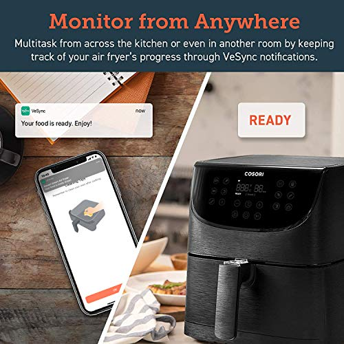 COSORI Smart WiFi 5.8QT Air Fryer (100 recetas), base programable de 1700 vatios para freír al aire, asar y mantener caliente 11 ajustes preestablecidos de cocción, recordatorio de precalentamiento y batido, pantalla táctil digital, funciona con Alexa, negro 5