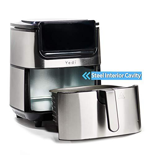 Freidora de Aire Yedi Evolution, 6.5 litros, acero inoxidable, cesta de cerámica para cocinar, con kit de accesorios de lujo y libro de recetas incluido. 5