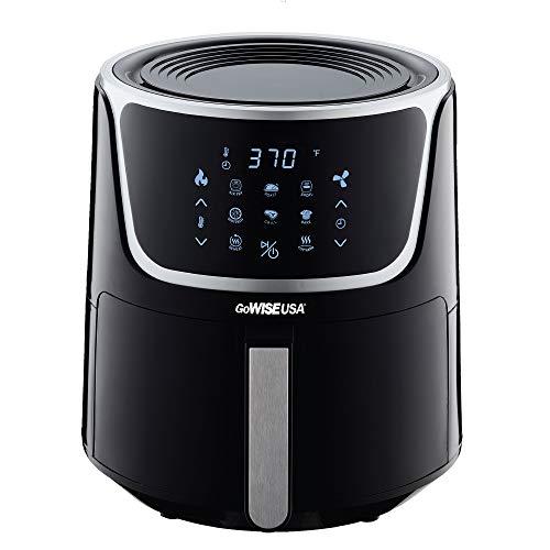 GoWISE USA GW22956 Freidora de aire eléctrica de 7 cuartos con deshidratador y 3 rejillas apilables, pantalla táctil digital LED con 8 funciones + recetas, 7 cuartos, negro / plateado 5