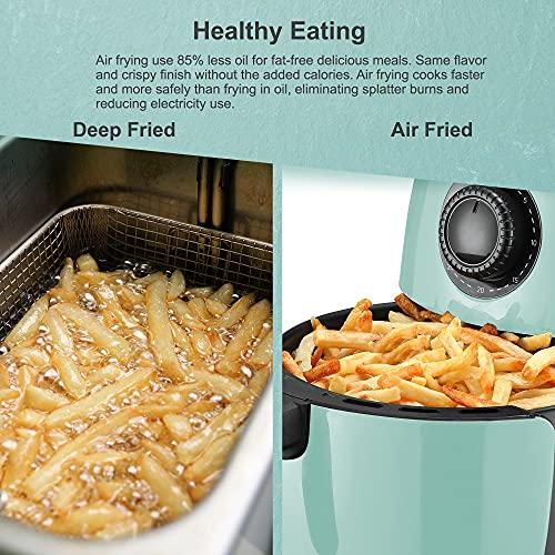 Maxi-Matic EAF-0201BL Freidora de aire caliente eléctrica compacta personal que ahorra espacio Cocina saludable sin aceite, temporizador y controles de temperatura, sin PFOA / PTFE, 1000 vatios, 2,1 cuartos, agua 7