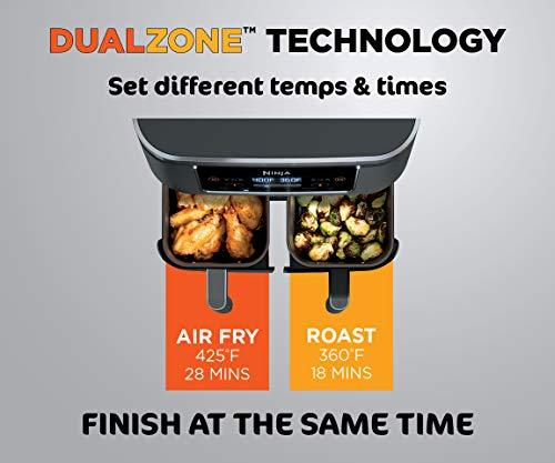 Ninja DZ201 Foodi Freidora de aire 6 en 1 de 2 canastas con tecnología DualZone, capacidad de 8 cuartos y acabado inoxidable gris oscuro 4