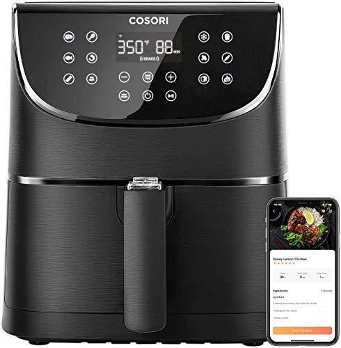 COSORI Smart WiFi 5.8QT Air Fryer (100 recetas), base programable de 1700 vatios para freír al aire, asar y mantener caliente 11 ajustes preestablecidos de cocción, recordatorio de precalentamiento y batido, pantalla táctil digital, funciona con Alexa, negro 1