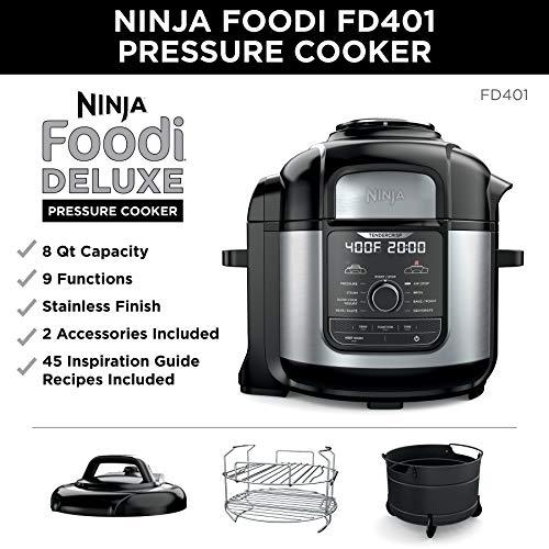 Ninja FD401 Foodi 8-Quart 9-in-1 Deluxe XL Olla a presión, Asar, deshidratar, cocinar a fuego lento, freidora y más, con acabado inoxidable 1