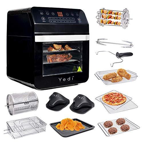 Yedi - Freidora de aire XL, horno, paquete total, 12 Litros, kit de accesorios de lujo, recetas, sin BPA, apagado automático, negro 1
