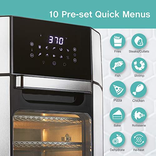 West Bend Freidora de aire eléctrica de 12.6 cuartos de galón con 10 presets digitales de menú rápido - hornear, asar, asar, deshidratar, recalentar, 1700 vatios, color negro 4