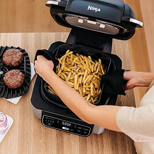 Ninja Foodi AG301 Parrilla eléctrica para interiores 5 en 1 con freidora de aire de 4 cuartos de galón, asado, horneado, deshidratado y tecnología de parrilla ciclónica 8