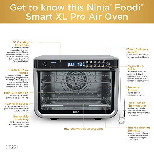 Ninja DT251 Foodi 10 en 1 Smart Air Fry Horno tostador de convección digital con termómetro capacidad XL y un acabado de acero inoxidable 7