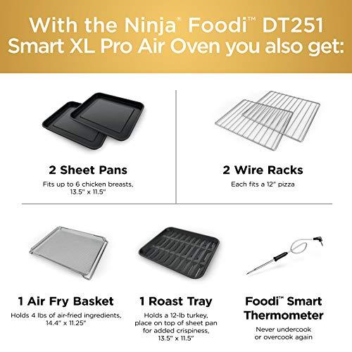 Ninja DT251 Foodi 10 en 1 Smart Air Fry Horno tostador de convección digital con termómetro capacidad XL y un acabado de acero inoxidable 8