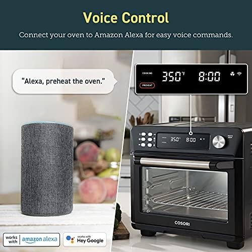 COSORI Smart 12 in 1 freidora de aire para horno, deshidratador de encimera para pollo, pizza y galletas, regalo de Navidad, recetas y accesorios incluidos, funciona con Alexa, 25 L, negro 3