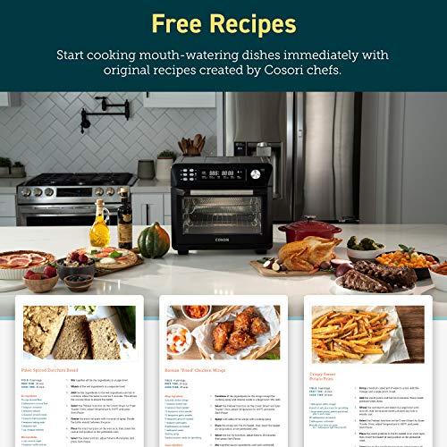 COSORI Smart 12 in 1 freidora de aire para horno, deshidratador de encimera para pollo, pizza y galletas, regalo de Navidad, recetas y accesorios incluidos, funciona con Alexa, 25 L, negro 9