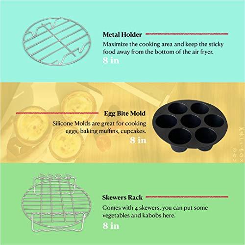Accesorios para freidora de aire Phillips Nuwave Gowise Gourmia Ninja Dash Air Freidora XL de 5.3-8QT con bandeja de 8 pulgadas, bandeja de pizza, taza de silicona para hornear, estante para brochetas, papel de pergamino 4