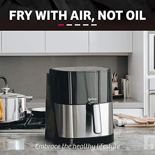 flaming Freidora de aire, 5.5 / 7.5 cuartos de galón, cocina sin aceite de 1700 vatios, pantalla táctil digital LED con botones preestablecidos, cesta antiadherente, libro de cocina saludable incluido (negro) 2