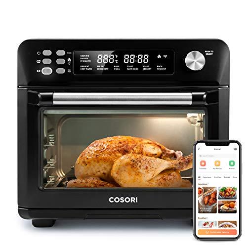 COSORI Smart 12 in 1 freidora de aire para horno, deshidratador de encimera para pollo, pizza y galletas, regalo de Navidad, recetas y accesorios incluidos, funciona con Alexa, 25 L, negro 1