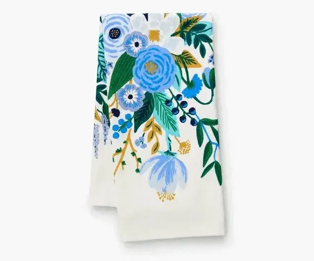 tea towel with blue floral design