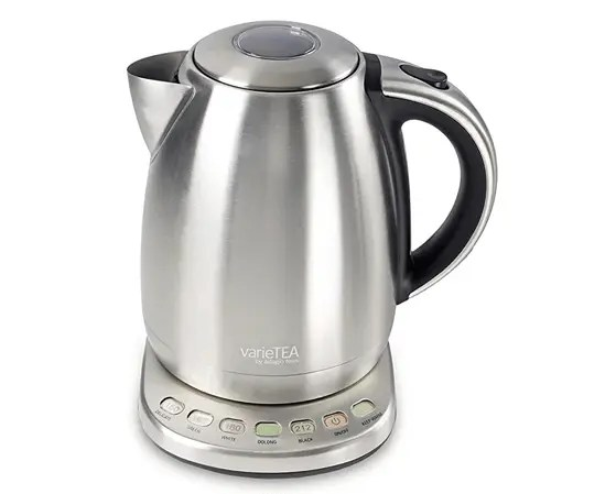 stainless steel electric kettle with temperature control buttons