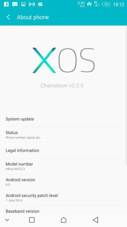 XOS infinix Note 3