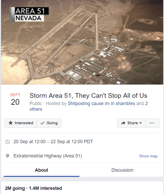 """Storm Area 51"" Event page back on Facebook after mistaken deletion"