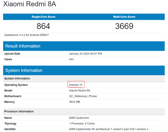 Geekbench Xiaomi Redmi 8A Android 10 update
