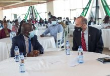 Israel Ambassador to Kenya, H.E Oded Joseph (right) and Konza Technopolis CEO, Eng. John Tanui (left)