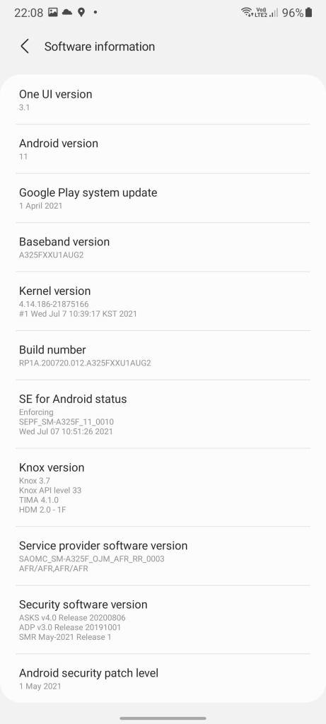 Samsung Galaxy A32 ONE UI Interface