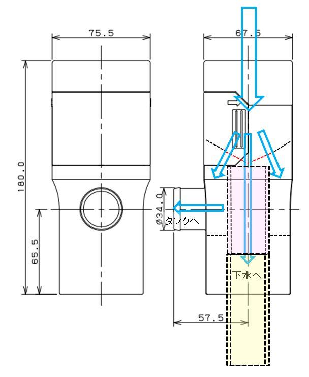 一条アイスマートに雨どい集水器とタンク設置