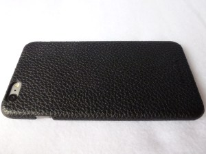 Story Leather Black Pebbled Leather Back Cover for iPhone 6 Plus: Back Left Side View