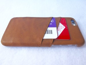 Doc Artisan Leather Card Case for iPhone 6- Back Side View with Cards