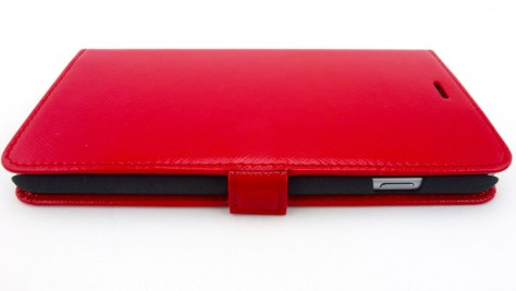 Story Leather Saffiano Leather Side Flip Case for iPhone 6 Plus in Red- Front Closed View