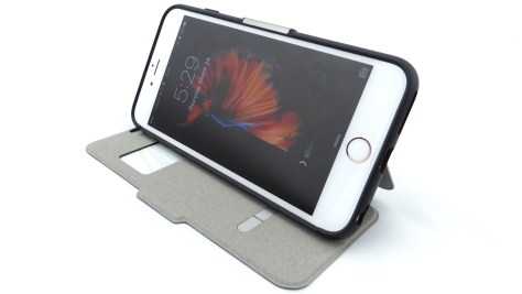 Moshi SenseCover for iPhone 6s Plus in Steel Black- Stand View--Front