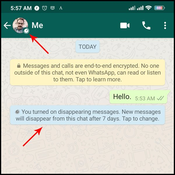 Enable the ability to send disappearing messages in WhatsApp