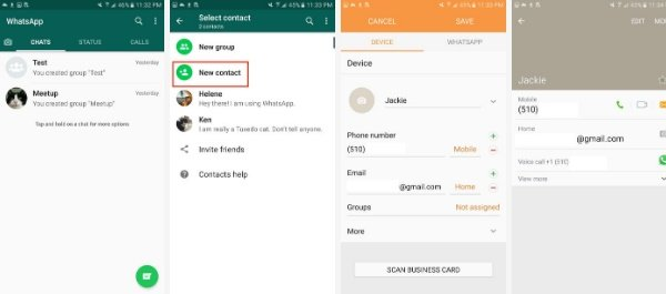 How to add a new contact to WhatsApp in Android